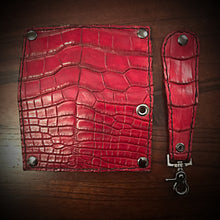Load image into Gallery viewer, Long wallet - American Alligator Leather, Red, Red & Black Interior, Black Stitching