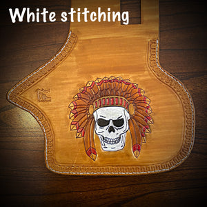 Heat Shield - Native Skull, Indian Tan, Fits Indian Cruisers, Baggers & Touring Bikes.
