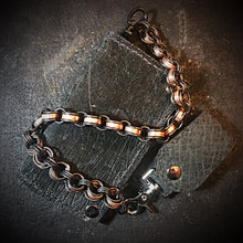 Load image into Gallery viewer, Chainmail Chain - Penny Dreadful, Black steel rings, copper American pennies.