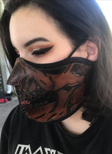 Load image into Gallery viewer, Leather Face Mask with Skull Art, Regular Face Mask Included