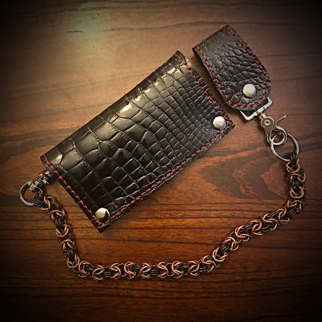 Long wallet - Gloss American Alligator Leather, Black, BlackInterior, Black Stitching