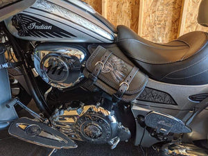 Heat Shield - Flying Native Skull, Black, With Pouch, Fits Indian Cruisers, baggers & Touring Bikes.