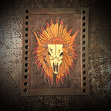 Motorcycle Fork Covers - Cow Skull & War Bonnet