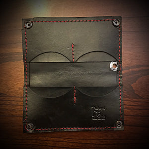 Long wallet - Genuine Elephant Black with red stitching