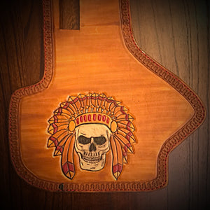 Heat Shield - Native Skull, Indian Tan, With Pouch, Fits Indian Cruisers, baggers & Touring Bikes.