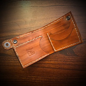 Billfold - Genuine Elephant, Cigar Tan, White stitching