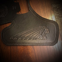 "Load image into Gallery viewer, Heat Shield for Indian Scout motorcycle with ""Tractor"" Seat - Custom Art - Black"