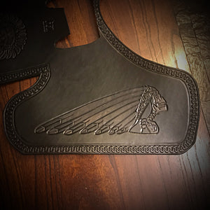 "Heat Shield for Indian Scout motorcycle with ""Tractor"" Seat - Custom Art - Black"