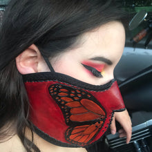 Load image into Gallery viewer, Leather Face Mask with Butterfly Art, Regular Face Mask Included