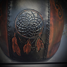 Load image into Gallery viewer, Half Helmet with Custom Art - send me your favorite helmet, I'll cover it in leather.