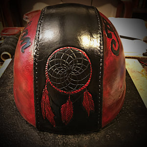 Half Helmet with Custom Art - send me your favorite helmet, I'll cover it in leather.