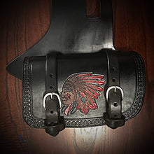 Load image into Gallery viewer, Heat Shield - Colorful Native, Black, Double Pouch, Fits Indian Cruisers, baggers & Touring Bikes.