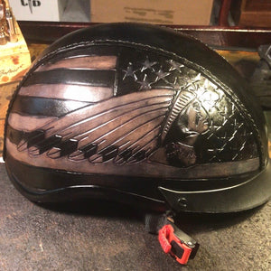 Leather covered Half Helmet With Old Glory background