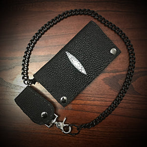 Long Wallet - Stingray - Black with White Mark (ships now)