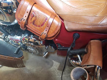 Load image into Gallery viewer, Heat Shield with 2 Pouches for Indian Cruisers, Baggers & Touring Bikes - Custom Art, Indian Tan
