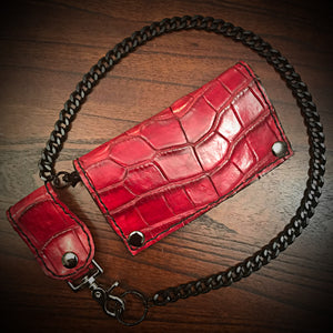 Long wallet - American Alligator Leather, Red, Red & Black Interior, Black Stitching