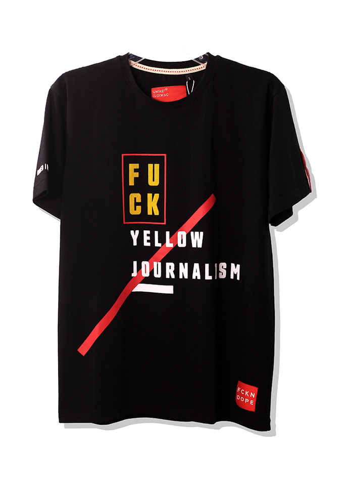 F*CK Yellow Journalism | Shabdachari | Black T-shirt