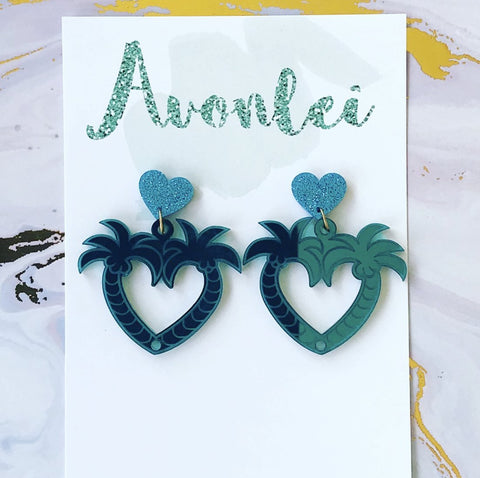 Statements - Aloha Palms Hearts in teal mirror