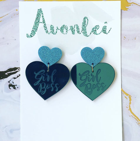 Statements - Girl Boss Hearts in teal mirror