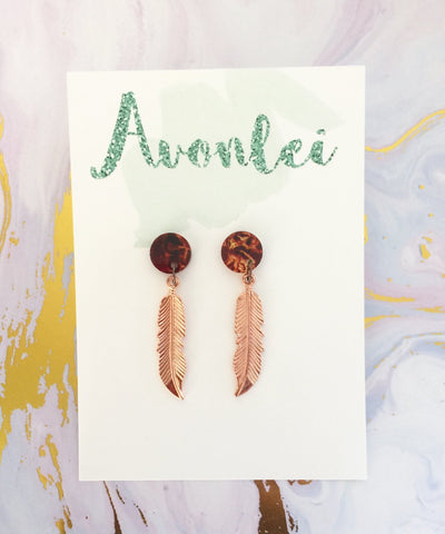 Circle Studs with metal Rose Gold Feather dangle - tortoise shell