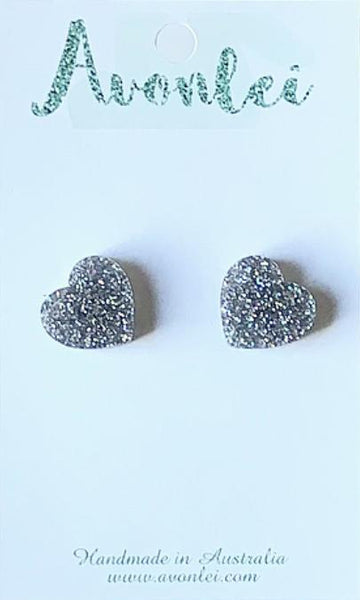 "Studs - Heart earrings ""Glitter"" in various colours"
