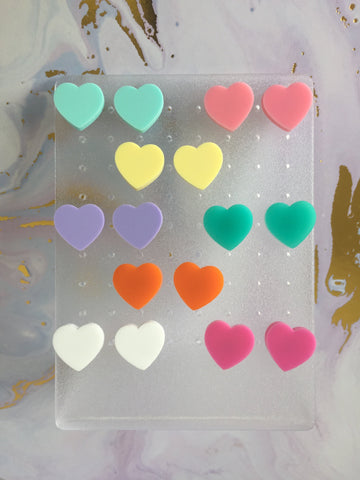 Studs - Heart earrings pastel colours