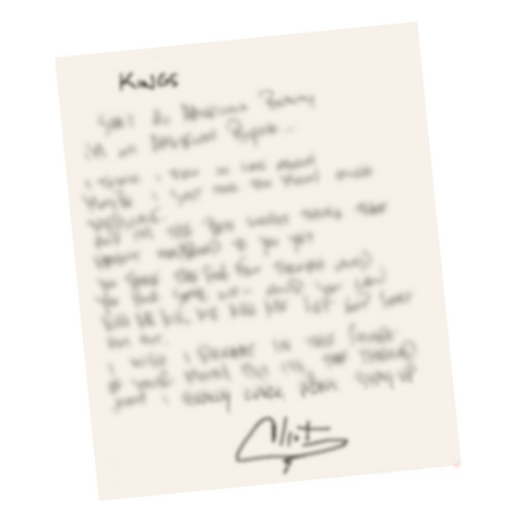 Handwritten Signed Lyric Sheet (Limited Offer/Quantity)
