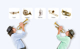 2 boys playing brass instruments with horn repositionable wall decals on wall