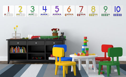 Ten Frames numbers 1-10 repositionable wall decals