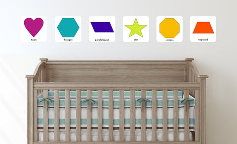 teriary colored geometric shapes repositionable wall decals in chold's room