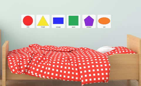 circle, triangle, rectangle, square, pentagon, oval repositionable wall decals on child's room wall