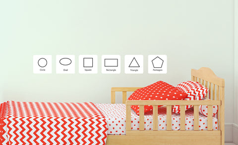 six lined geometric shaped repositionable wall decals for toddlers