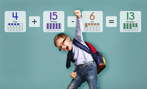 enthusiastic boy in front of math equation repositionable wall decals