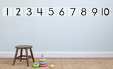 1-10 black numbers on white background repositionable wall decals on wall in child's room