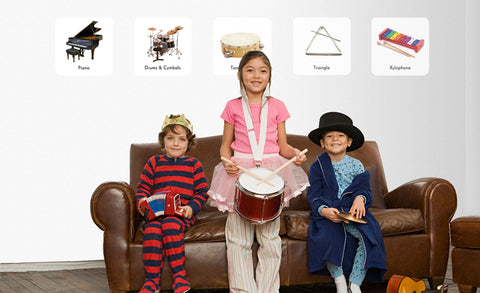 piano, drums & cymbals, tambourine, triangle and xylophone repositionable wall decals