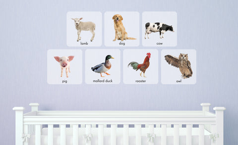 lamb, dog, cow, pig, mallard duck, rooster, owl repositionable wall decals in child's room