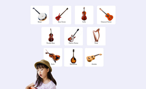 banjo, bass guitar, cello, classical guitar, harp, mandolin, violin, ukulele repositionable wall decals
