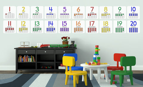 Colorful Ten-Frames numbers 1-20 repositionable wall decals