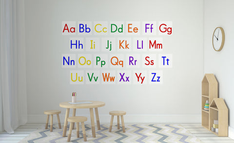 wall of the letters of the alphabet repositionable decals