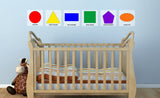 shapes and color repositionable wall decals on child's wall