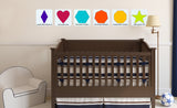 six repositionable wall decals with color combinations to make teriary colors