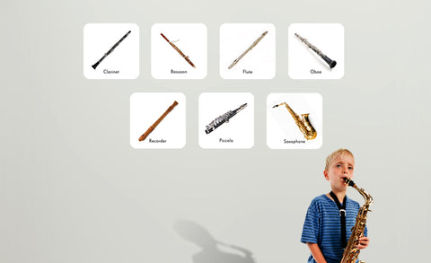 bassoon, clarinet, flute, oboe, piccolo, recorder and saxophone repositionable wall decals