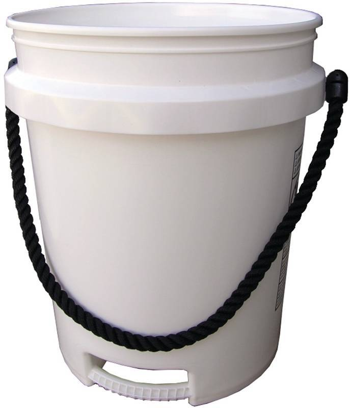 Bucket White 2 Handle Rope 5 ga