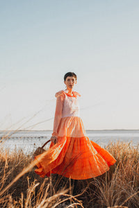 Hand Dyed Tangerine Tiered Dress - Two of a kind.