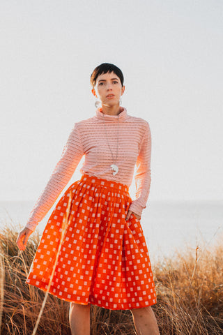 Orange Check Skirt - Adjustable Sizing