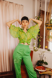 Green Retro Dream Button Up - Handmade by Alice