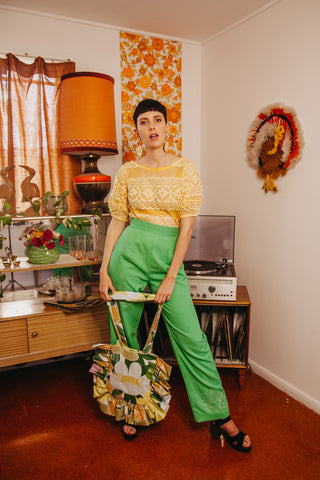 Jade Green Native PigFace Pants - Handmade by Alice