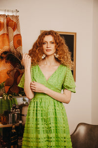 Green Vintage Curtain Dress - Handmade by Alice