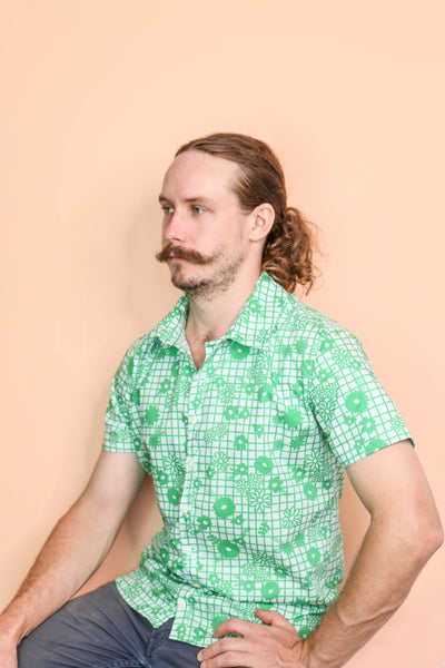 Green Retro Floral Shirt - Small Batch