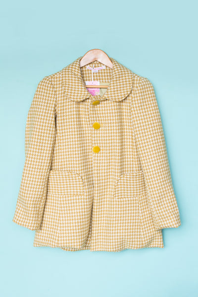 Mustard Houndstooth Vintage Fabric Coat - Handmade by Alice